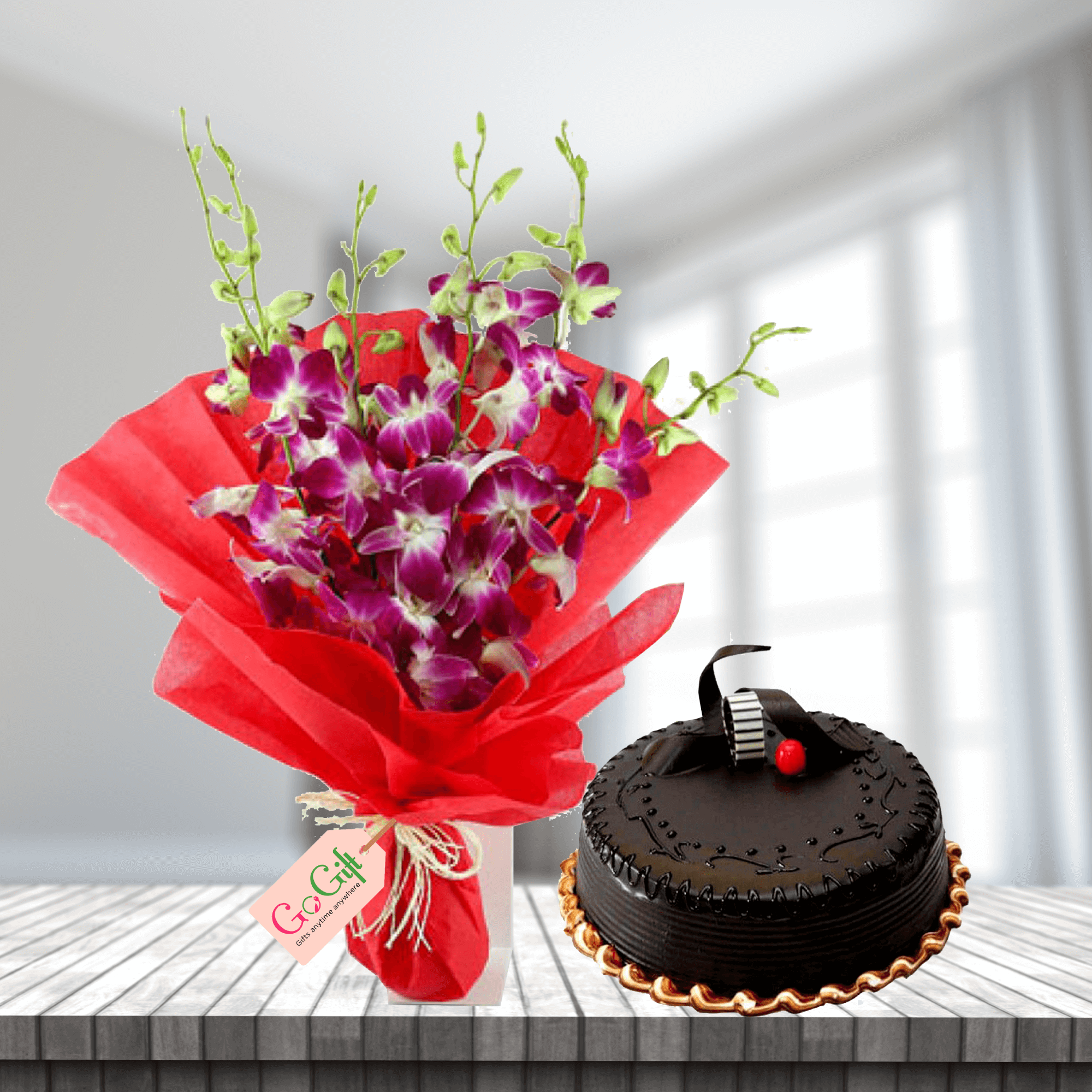 combo flower and cake