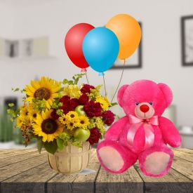 12 Mix flowers 6 pcs Balloons and 6 inch Teddy Bear