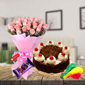 Pink Roses,Blackforest Cake,Balloons with Chocolate