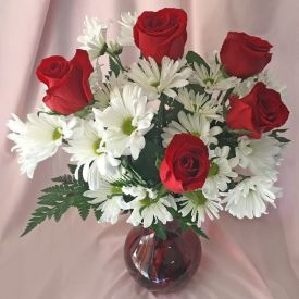 Gerberas and Roses With vase
