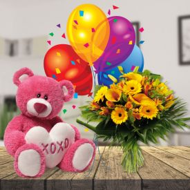 Flowers,6 inch Teddy bear and balloons