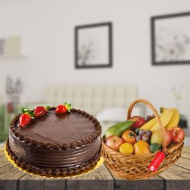 chocolate cake with mix fruit