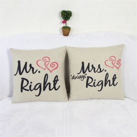 Mr.Right Mrs Always Right Black and Red Cushion