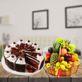 1 KG Black forest with fruits basket