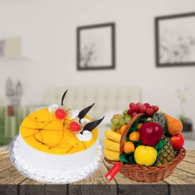 pineapple cake with 3KG fruit basket