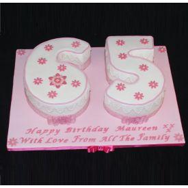 Pink Floral Fondant Cake