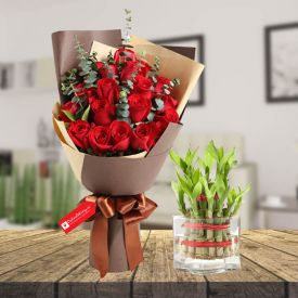 Red rose & 2 layer bamboo with vase