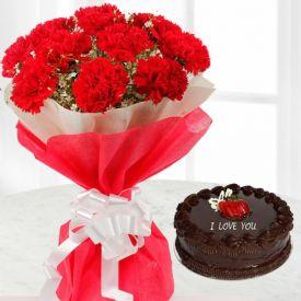 Truffle Cake With Carnation