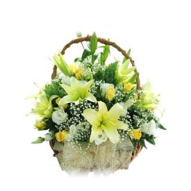 Yellow and white Roses with white lily