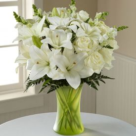 White lily and Rose with vase