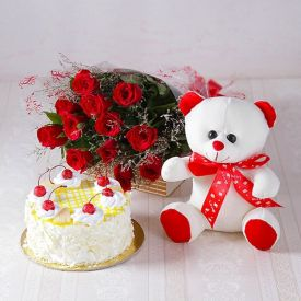 Cake, Flowers with soft toy