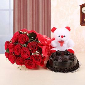combo red rose teddy and cake