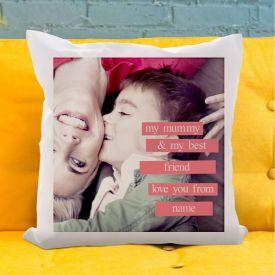 Personalised Cushion - Photo Upload Pink Banner My Mummy My Best Friend