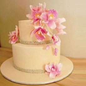 2-teir flower anniversary cake