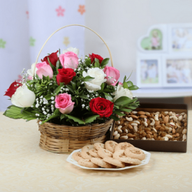 Basket of mix Roses with dry fruits and sweets