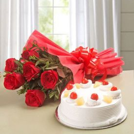 Red Roses with ButterScotch Cake