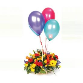Mixed Flower with Balloons