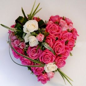 50 Heart shape pink roses