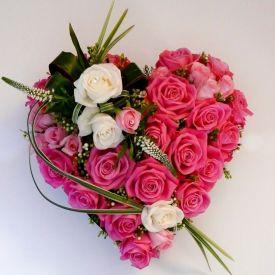 50 Heart shape pink roses