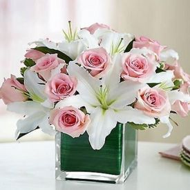 Lilies and Roses with Square vase