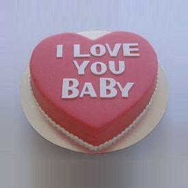I love you baby fondant cake