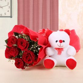 Red Roses With Cute Teddy Bear