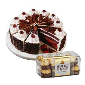 1kg black forest cake with16 pieces of ferrero rocher.