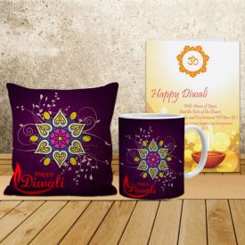 Diwali Cushion with Mug