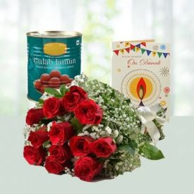 Red Roses, Sweets and Dry Fruits