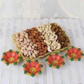 Diya With Dry Fruits