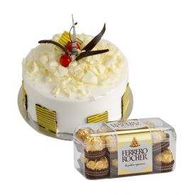 2kg pineapple cake with 16 pieces of ferrero rocher.