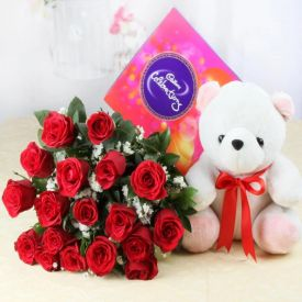 Red Roses With Celeberation pack