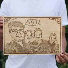 Family Wooden Engraving -Square(Extra Large)