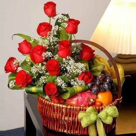 Red Roses N Mixed Fruits