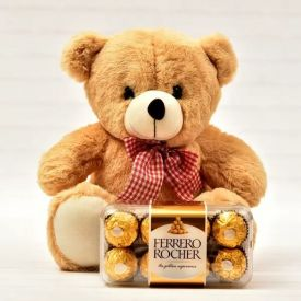 Brown Teddy with Ferrero Rocher