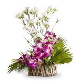 Carnation With Orchids Arrangements