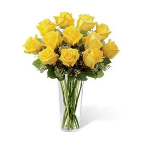 10 Yellow roses in Vase
