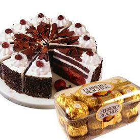 1 kg Eggless Black forest and 16 pcs Ferrero rocher