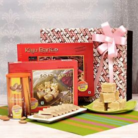 Kaju Barfi with Soan Papdi and Almonds in a Gift Box