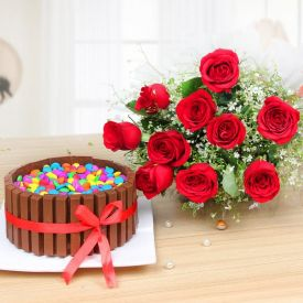 A bunch of roses with Kit Kat cake.