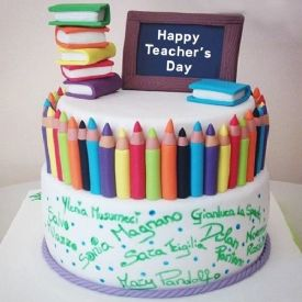Happy Teacher's Day Vanilla Cake