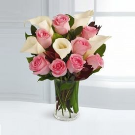 lily and Pink Rose in Vase