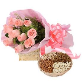 Roses with Mix Dry Fruits