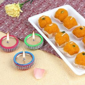 Motichoor laddu With Diya