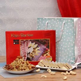 Kaju Barfi with Mewa Dalmoth in a Goodie Bag