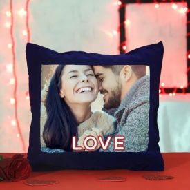 Blue sattin personalized pillow