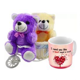 Mug (Customize) with 2 small Teddy