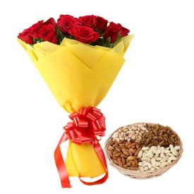 Dry Fruits with Red Roses