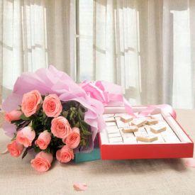 Clasic Pink Rose With Kaju Katli