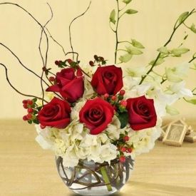 Orchid and Roses In Vase